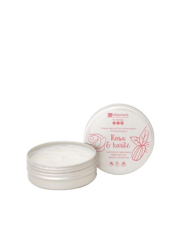Crema mani rosa e karitè
